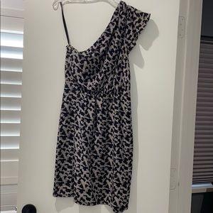 One-Shoulder Animal Print Silk Dress Barney's CoOp